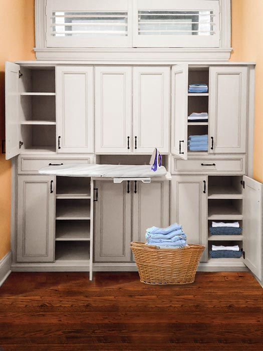 Built-in linen closet with American Craftsman design aesthetic
