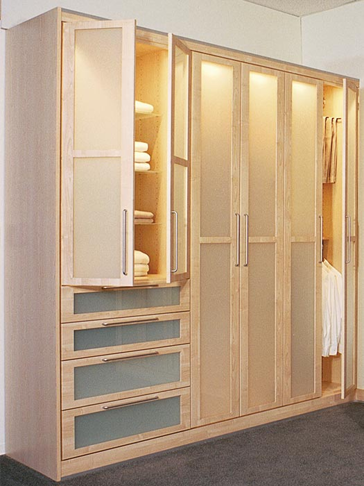 Contemporary wardrobe style custom closet design with glass panel doors
