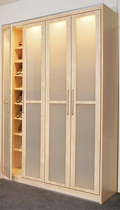 Contemporary wardrobe with frosted closet doors and drawers